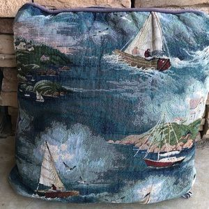 Vintage 90s Newport tapestry pillow Nautical